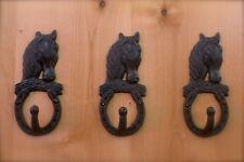 3 ANTIQUE-STYLE CAST IRON WELCOME HORSE HORSESHOE HOOKS wall hardware western
