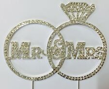 Large Rhinestone Silver Crystal MR & MRS Wedding Rings Bridal Shower Cake Topper