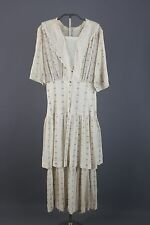 VTG Early 1900s Teens Women's White/Black Striped Cotton Dress #1116 Edwardian