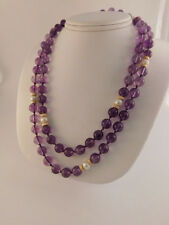"AMETHYST PEARL 14K GOLD BEAD & CLASP NECKLACE 34"" LONG HAND KNOTTED"