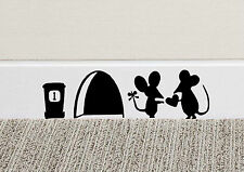 B214 MOUSE LOVE HEART Wall Art Sticker Vinyl Deca Mice Home Skirting Board Funny