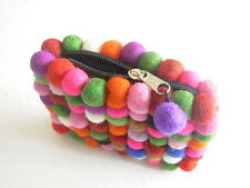 BOHO FELT BOBBLE ZIPPED PURSE - HIPPY FAIR TRADE HANDMADE FESTIVAL RAINBOW