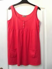 CHEROKEE CORAL PINK COTTON STRAPPY BUTTON TRIM POCKET SMOCK TUNIC TANK VEST TOP