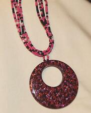 Sparkly Blue Red & White Variagated Seed Bead Open Circle Boho Pendant Necklace