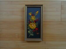 Vintage mini Spring Flowers Oil Painting Original Signed Framed Spain handmade