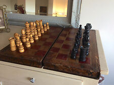 LARGE Antique VICTORIAN St George EBONY & BOXWOOD Complete CHESS SET & BOARD