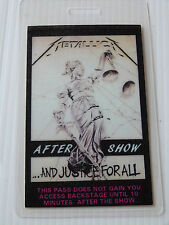 METALLICA Laminated AFTERSHOW Backstage Tour Pass - AND JUSTICE FOR ALL