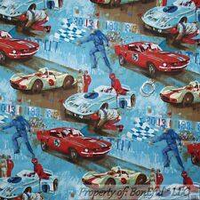BonEful Fabric FQ Cotton Quilt Blue Red Sports Race Car Boy Antique VTG Stingray