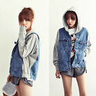 Korean Fashion Womens Casual Hoodie Denim Jacket Coat Hooded Outerwear S M L