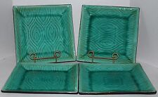 "ROSCHER AQUA BLUE CRACKLED GLASS 10 5/8"" SQUARE DINNER PLATES"