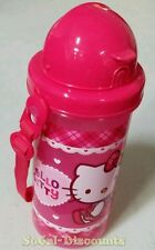 HELLO KITTY 600ML 20.3 fl oz, BPA FREE WATER STRAW BOTTLE WITH STRAP, NEW W/ TAG