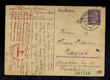 1943 Germany Litzmannstadt Ghetto postcard Cover To Zagreb Yugoslavia R PAtscher