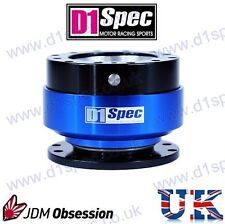 D1 SPEC UNIVERSAL RACING STEERING WHEEL QUICK-RELEASE BLACK/BLUE JDM DRIFT RALLY