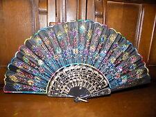 Da collezione vintage Multi Colore Piuma di Pavone con paillettes ricamato a mano Fan