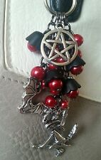 Witch theme with Red & Black flowers & Beads  Handbag Charm Gift. Pagan Wicca