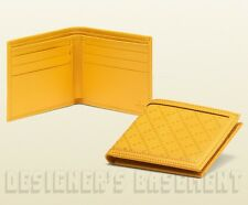 GUCCI Mens Yellow DIAMANTE embossed Leather Bifold wallet NIB Authentic $330!