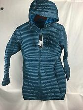 NEW ARCTERYX WOMENS NURI PARKA JACKET MARINE DOWN INSULATED HOODED LARGE L LIGHT