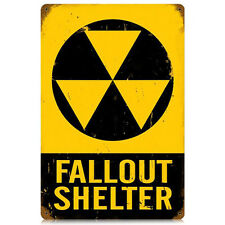 Fallout Shelter DOD Nuclear War Radiation Warning Tin Metal Steel Sign 12x18