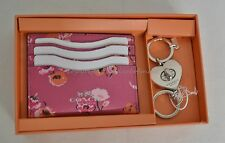NIB Coach Gift Set Of  Leather Card Case+Valet Keyring Pink/Flowers Great Gift!