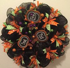 Handmade Mesh Ribbon Halloween Wreath Orange Black Fall Trick or Treat Pumpkin