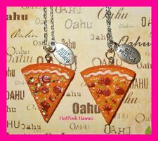 2pcs BEST FRIEND Pizza Junk Food Silver Plated 18' Resin Charm Necklaces US MADE