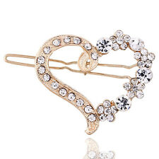 Elegent Women Alloy Crystal Rhinestone Hear Style Hair Clip Hairpin Accessories