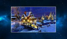 House by the River (All Lit Up For Christmas) Fridge Magnet. NEW. Xmas Decor