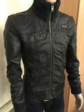 SUPERDRY RICKMAN LEATHER BOMBER JACKET DARK BROWN / SIZE XL