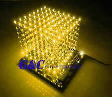 3D LightSquared DIY Kit 8x8x8 3mm LED Cube Yellow Ray LED M114