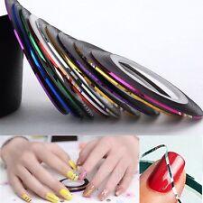 10 Rolls fili striping nastro adesivo tape unghie nail art Manicure decorazione
