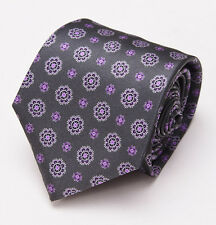 NWT $230 BRIONI Slim Satin Silk Tie Charcoal Gray-Lavender Floral Medallion