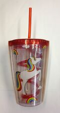 IRIS THE UNICORN SIPPER CUP PLASTIC GLASS WITH CURLY STRAW PERFECT GIFT