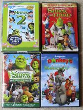 Kid DVD Lot - Shrek 2 Shrek the Third Shrek Forever After Donkey's Christmas NEW