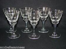 ANCIEN VERRE A LIQUEUR SUR PIED x 6 ART DECO / DIGESTIF CAVE ALCOOL OLD GLASS