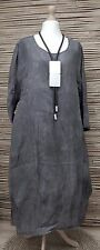 LAGENLOOK*BELLA BLUE*100% LINEN AMAZING ACID WASHED LONG DRESS*ANTHRACITE* L-XL