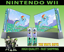 NINTENDO WII STICKER RAINBOW DASH BLUE MY LITTLE PONY SKIN & 2 PAD SKINS