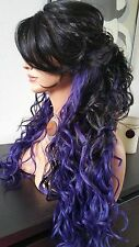 Long Beautiful Black & Purple TwoTone Lace Front Wig w/Long Bangs Wavy Heat Safe