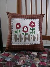 Pillow Primitive Country Rustic Home Decor Stenciled Flowers Buttons
