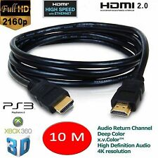 10m HDMI Male to HDMI Male PC/LAPTOP/SKY/XBOX 360/HDTV Gold Plated Ver1.4 Cable