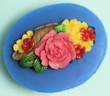 Flower Spray with basket on side Pink Silicone Mold - Fondant GP Chocolate Craft