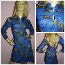 VINTAGE 60s BLUE PSYCHEDELIC PRINT TOWELLING MOD SCOOTER DRESS 14 M 1960s