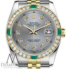 Ladies Rolex 26mm Datejust 2Tone Grey Color Dial with Emerald Diamond Accent RT