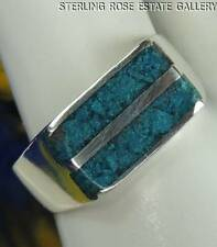 Mens VINTAGE Chipped green TURQUOISE Sterling Silver 925 Estate Band RING size 8