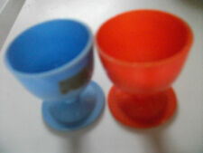2 Vintage 1970's??plastic egg cups 1 x red 1 x blue