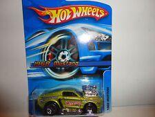 2006 Hot Wheels #128 Lime 1968 Mustang w/5 Spoke Wheels Black Base