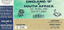 SOUTH AFRICA 1992 RUGBY TOUR TICKET v ENGLAND B 7 Nov at Bristol