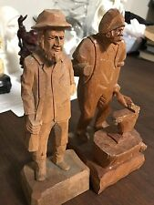Antique Pair German Hand Carved Wood Old Man Gentleman Figurine German statue