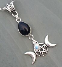 Rainbow Moonstone charn & Black Onyx Triple Moon Pentagram Goddess Pendant Wicca