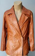 Men's Retro Real Leather Double Breast Vintage 70s Jacket Brown Coat Size L 43R