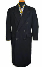 Vintage Burberry Mens Wool Cashmere Coat size 40S M Short Double Breasted Navy